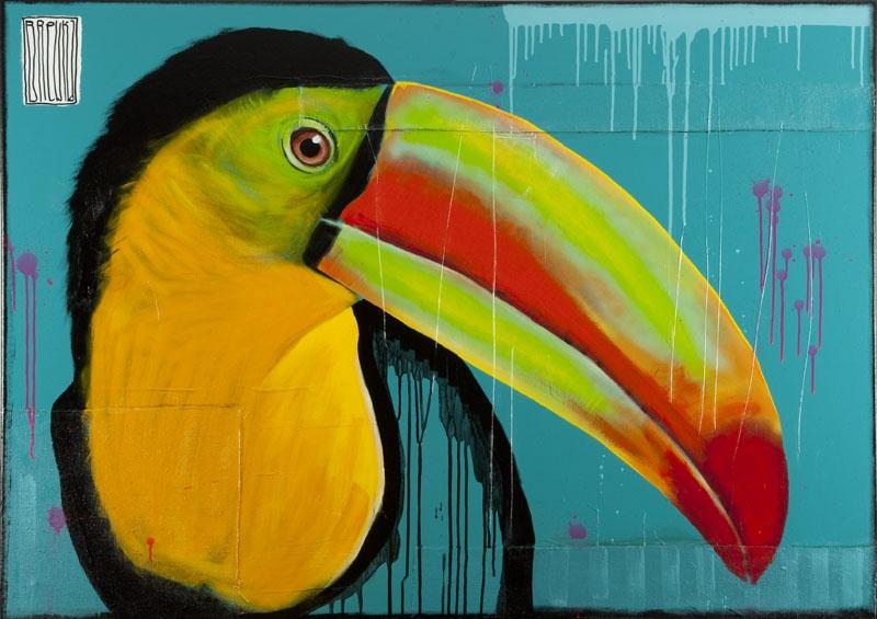 tukan-portret-aluzyjny-brewka-obrazy-portrety-zwierzat-cykl