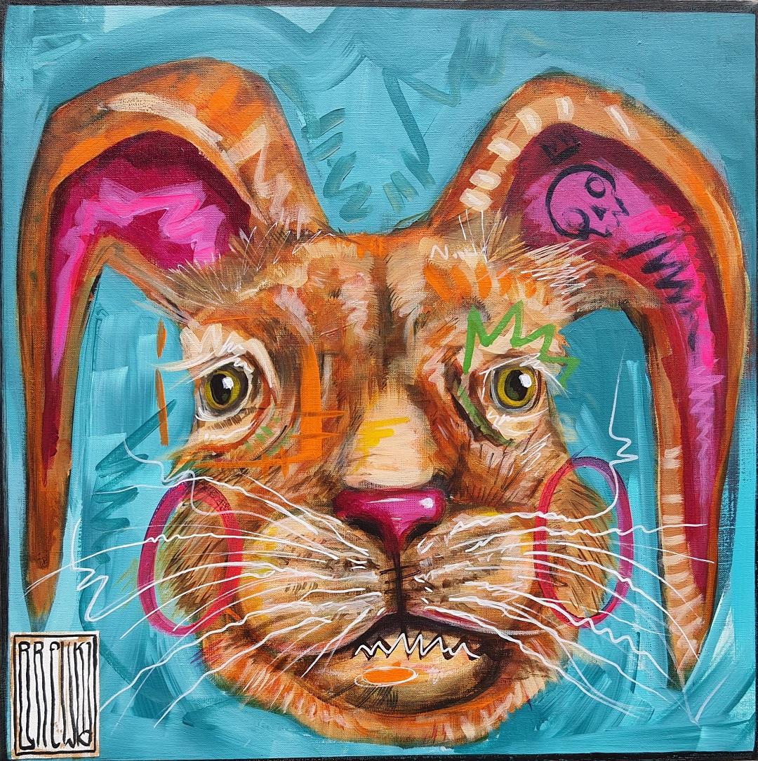 brewka-bunny-spring-is-here-obrazy-cykl-portrety-zwierzat-akryl-plotno-2021