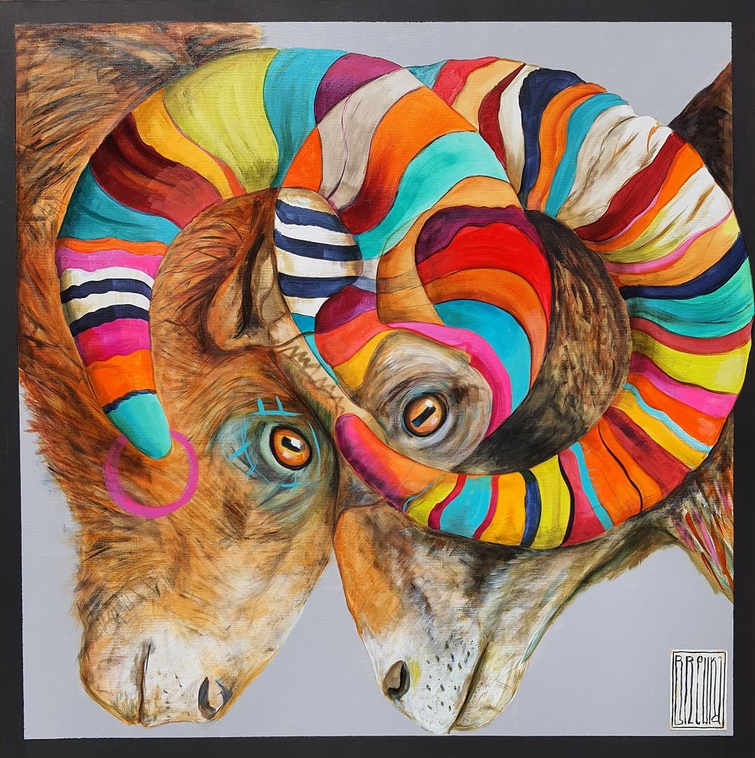brewka-obrazy-cykl-twins-portrety-zwierząt-muflony-